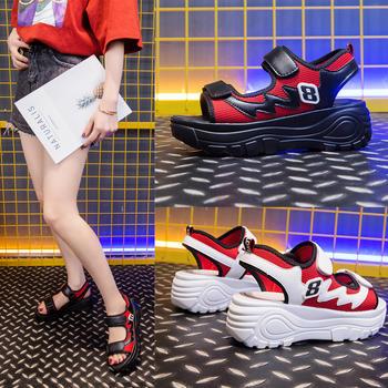 佑黛夏季新款凉鞋韩版学生运动厚底增高鞋复古老爹鞋