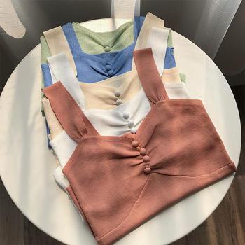 2019夏季韩版新款糖果色肩带网红弹力修身小背心女