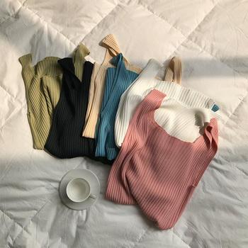 针织吊带小背心女夏季韩版百搭内搭短款修身无袖t恤