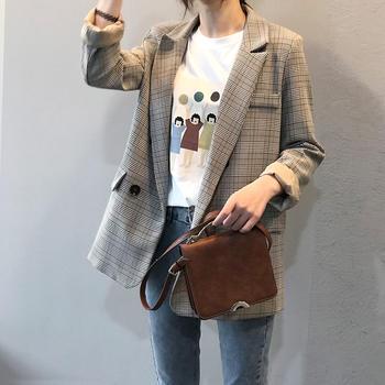 2019韩版复古格子西装外套女宽松休闲西服上衣