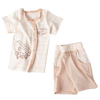 谷斐尔 GOPHER 短袖短裤系扣上衣夏日套装宝宝纯棉衣服