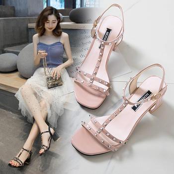 佑黛女鞋夏季新款?#25351;?#38795;铆钉露趾罗马鞋一字扣带女鞋
