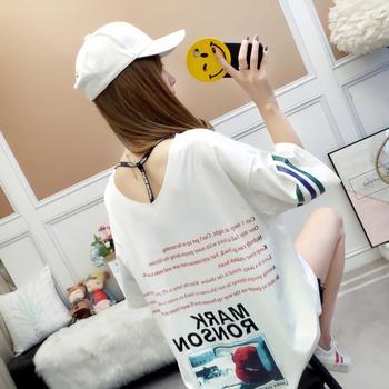 露雪夏季新款韩版休闲宽松短袖T恤女学生中长款