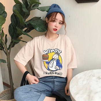 露雪春夏季卡通印花短袖T恤女韩版潮