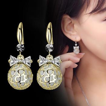卡洛美 蝴蝶結長款耳環氣質韓國個性網紅耳墜耳飾