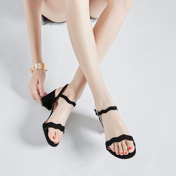 慕沫女鞋存季新款凉鞋花边露趾罗马鞋一字扣带?#25351;?#38795;