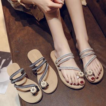 安欣娅新款时尚亮钻装饰夹趾百搭平底凉鞋