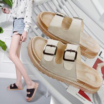 安欣娅韩版时尚皮带扣露趾平底女鞋休闲凉鞋