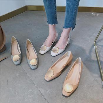 佑黛夏季新款单鞋中低跟女鞋复古方头通勤工作鞋夏