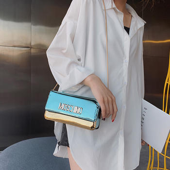 雅涵韩版时尚字母单肩漆皮小包包百搭链条女包