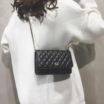 雅诗罗2019新款简约菱格小方包单肩包斜跨女包包