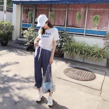 复古港味运动套装女夏2019新款韩版宽松T恤+萝卜裤