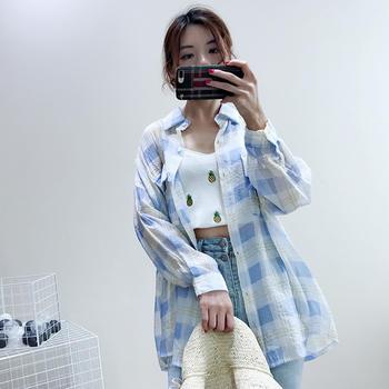 兰菲2019春夏新款撞色格子字母薄款防晒衬衫