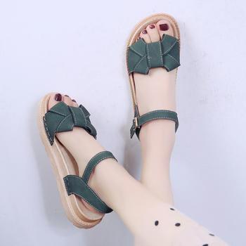 慕沫女鞋夏季露趾厚底罗马鞋学生一字扣带松糕凉鞋仙