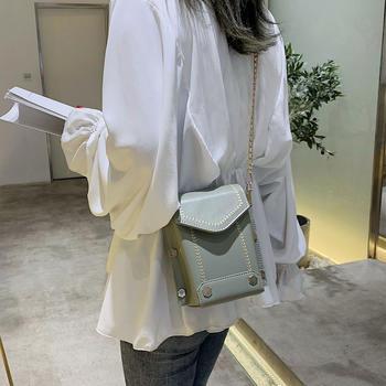 雅诗罗韩版新款铆钉女包斜挎包包单肩链条包