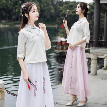新款女装棉麻刺绣立领上衣+雪纺裙有内衬套装