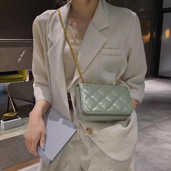 雅涵韩版时尚单肩小方包链条女包斜挎菱格包