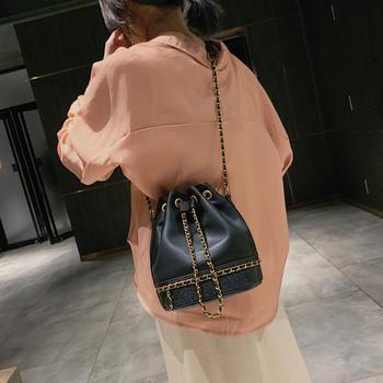 雅涵欧美时尚撞色女包单肩水桶包包斜挎包
