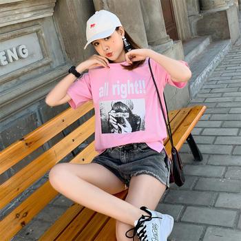 新款韩版女装JQ1921休闲套头短袖t简约上衣圆领T恤