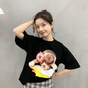 HiDou 孩子印花纯棉短袖T恤·潮情侣装宽松上衣