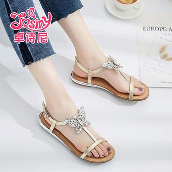 卓诗尼款凉鞋低跟舒适平跟丁字扣带甜美女鞋144751102