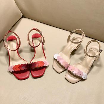 慕沫夏季新款凉鞋粗跟仙女系带罗马仙女风一字扣带鞋