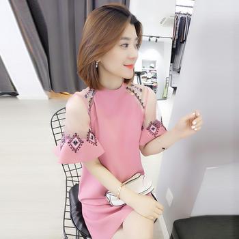 BOBOWALTZ新款欧货韩版洋气粉色刺绣裙裙子很仙的连衣裙