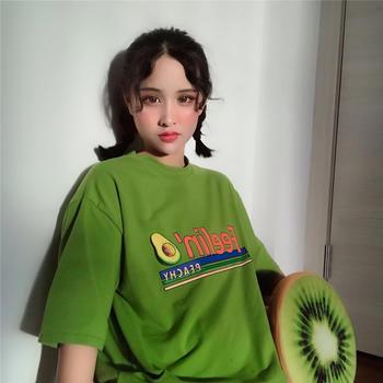 美丽后2019新款绿色宽松韩版BF风T恤上衣百搭