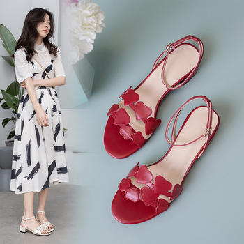 慕沫女鞋夏季真皮凉鞋?#25351;?#39640;跟鞋一字扣带爱心鞋仙女