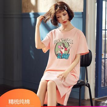 酷诺睡衣家居中长款T恤连衣裙睡衣女睡裙小仙女