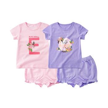 minizone夏季女宝宝T恤上衣灯笼短裤裤子2件套套装