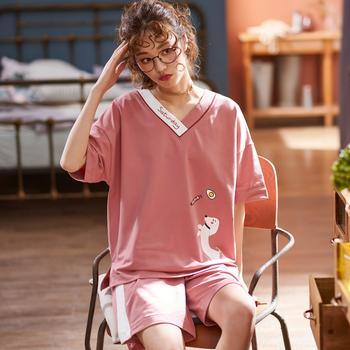 凯丝柔韩版棉质薄款家居服宽松短裤短袖睡衣套装