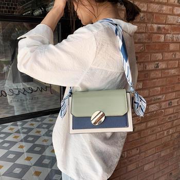 雅诗罗韩版时尚撞色女包单肩丝巾链条包包斜挎包