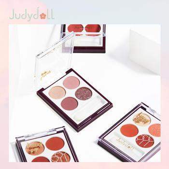 Judydoll橘朵四色眼影盘玫瑰棕酒红豆沙珠微闪哑光