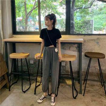 露雪2019新款韩版短袖T恤+运动休闲裤套装