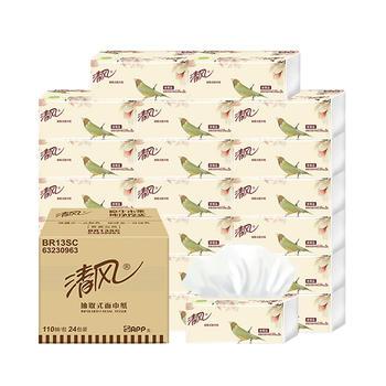 清風抽紙花鳥系列系列3層110抽尺寸24包