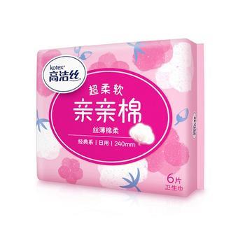 高洁丝 Kotex 经典系列丝薄棉柔240mm*6片日用卫生巾