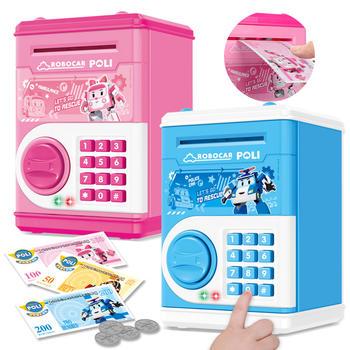 奥智嘉卡通POLI自动卷钱大容量儿童密码保险柜