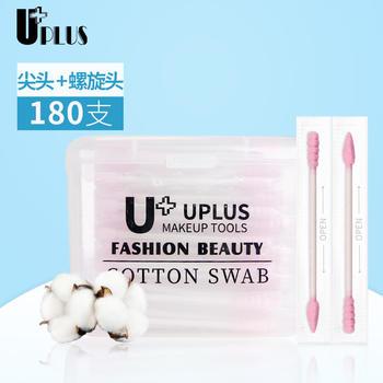 优家(UPLUS)粉色尖头螺旋头纸轴多功能棉签180支