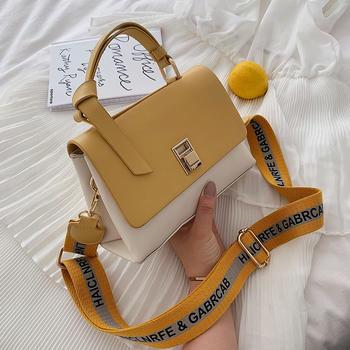 雅涵韩版新款女包百搭撞色手提包时尚锁扣单肩包