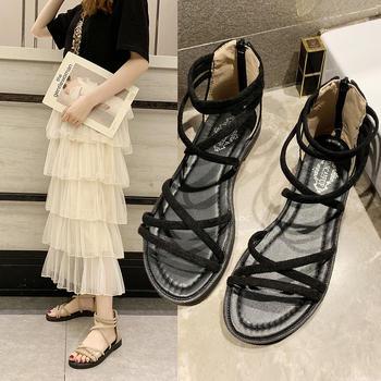 安欣娅韩版高帮拉链时尚舒适夏季平底凉鞋