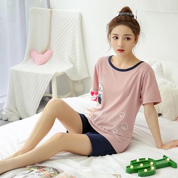纪妍薇 韩版舒适女睡衣套装棉质家居服两件套短袖薄