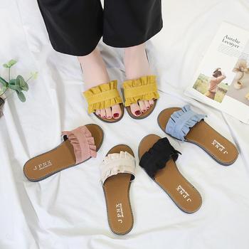 艾薇妮夏季新品舒适甜美百搭花边平底拖鞋