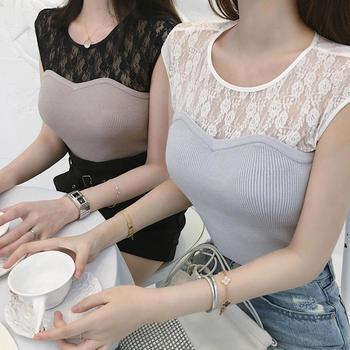 张大奕 蕾丝毛衫拼接T恤女2019百搭无袖修身套衫女
