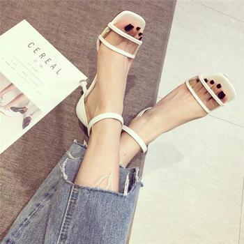 网红露趾细跟高跟鞋一字扣带时尚百搭夏季韩版女凉鞋