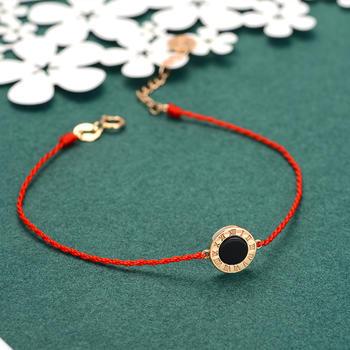 阿梵尼 18K金红绳手链 玫瑰金色罗马 情人节生日礼物