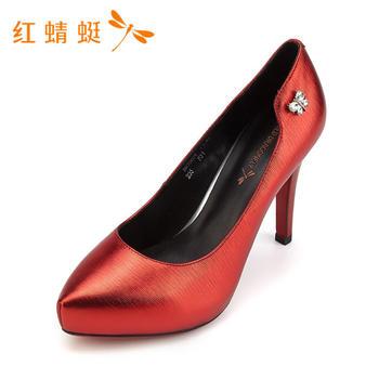 红蜻蜓女鞋头层牛皮春秋款专柜正品高跟鞋B87062