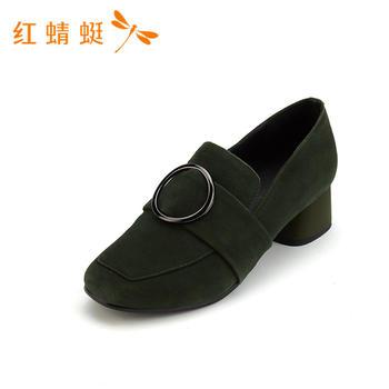 红蜻蜓正品新款女鞋粗跟时尚简约纯色女单鞋B85532