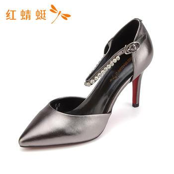 红蜻蜓新款时尚百搭尖头一字扣细高跟单鞋女B85230