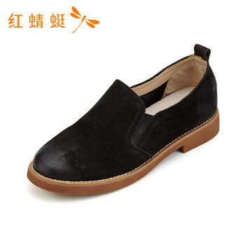 红蜻蜓女鞋头层牛皮夏款英伦风系带单鞋B86027